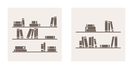 Book on shelf icon vector set  Bookshelf school objects for decorations, background, textures or interior wallpaper  Sign, symbol, banner or flat design element Vector