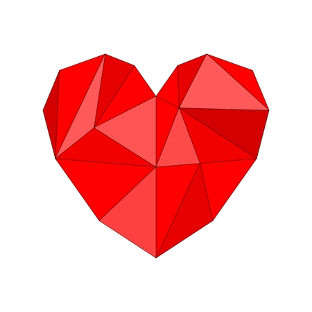 Red vector heart isolated on white background  Mosaic wrapping surface illustration for valentines  Triangle health graphic icon  Vector
