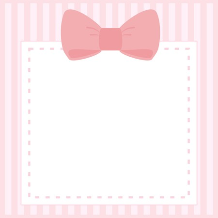 simple border: Vector card or invitation for baby shower, wedding or birthday party with stripes and sweet bow on cute pink background with white space to put your own text