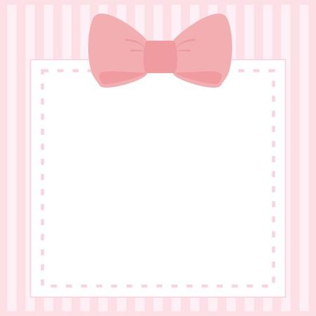 lazo rosa: Vector de la tarjeta o invitaci�n para baby shower, boda o fiesta de cumplea�os con las rayas y el arco lindo dulce en color rosa de fondo con espacio en blanco para poner su propio texto Vectores
