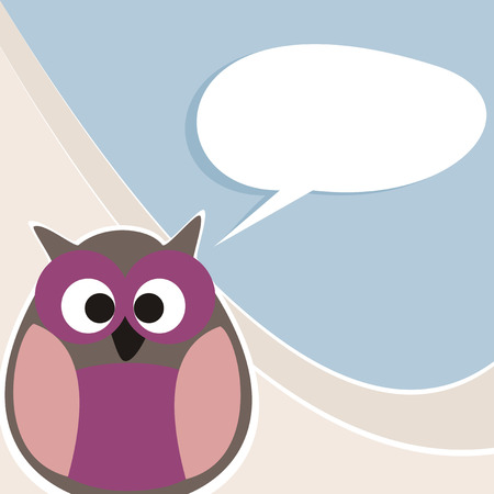 Funny vector owl talking, teaching, giving instructions  Hand drawn symbol of wisdom enlightening people  Illustration with white space to put your own text message