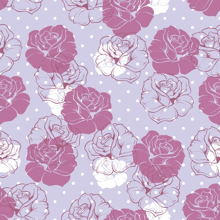 Seamless vector floral pattern with violet pink and white retro roses on polka dots blue background  Beautiful abstract vintage texture with pink flowers and cute background  Vector