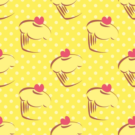 Seamless yellow vector pattern or texture with lemon cupcakes, muffins, sweet cake with pink heart on top and polka dots on sunny background with sweets for desktop wallpaper or culinary blog website Vector