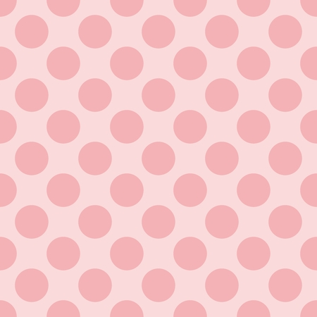 Seamless vector pastel pattern with dark pink polka dots on a sweet baby pink background  For kids website design or desktop wallpaper