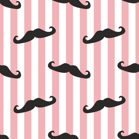 bigote: Conjunto de fondos bigote patrón o la textura con rizados bigotes negros retro caballero en rayas blancas y fondo de ping Para los sitios web inconformista, papel pintado de escritorio, blogs, diseño web Vectores