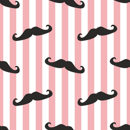 Seamless vector mustache background  Pattern or texture with black curly retro gentleman mustaches on stripes white and ping background  For hipster websites, desktop wallpaper, blog, web design  Vector