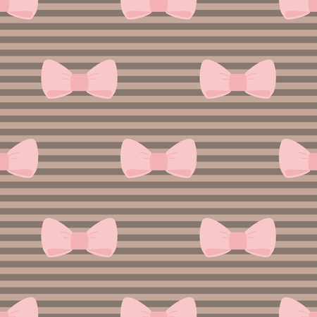 Seamless vector pattern with pastel pink bows on a chocolate brown stripes background  For desktop wallpaper, cute kids background or website design Vector
