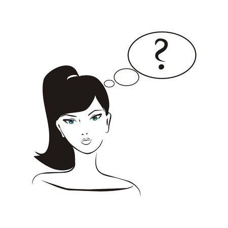 Vector asking girl  Young, hand drawn in simply glamour design style, thinking girl with black hair and question mark in bubble speech  Illustration isolated on white background  What should I do  Vector