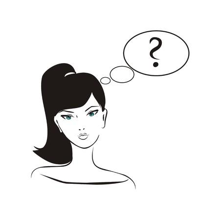 fantasize: Vector pidiendo Ni�a, dibujado a mano en el estilo de dise�o simplemente glamour, Pensamiento de la chica con el pelo negro y signo de interrogaci�n en la ilustraci�n de forma de burbuja aislada en el fondo blanco �Qu� debo hacer