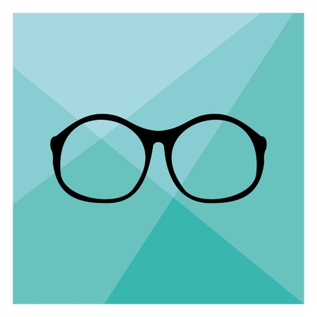 eyewear fashion: Glasses with black thick holder retro hipster vector illustration on mint green flat triangle mosaic background  Illustration
