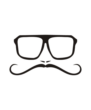 Vector men face with long mustache and huge, hipster glasses  Black american retro truck driver silhouette isolated on white background  Vector
