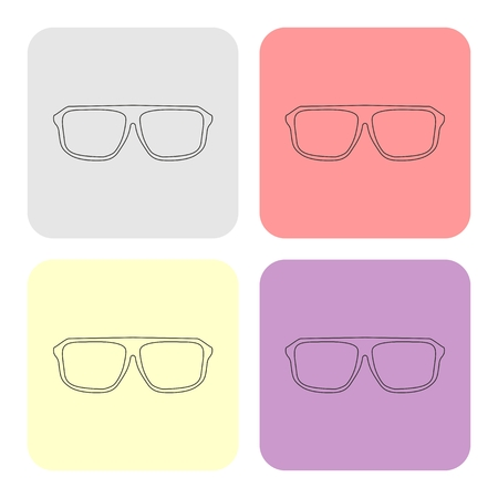 Glasses vector set with black thick holder hipster illustration isolated on white background