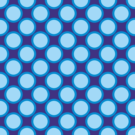 Seamless vector pattern with blue tile polka dots on a dark navy blue background  For website design, desktop wallpaper, kids background, art, decoration or scrapbook  Vector