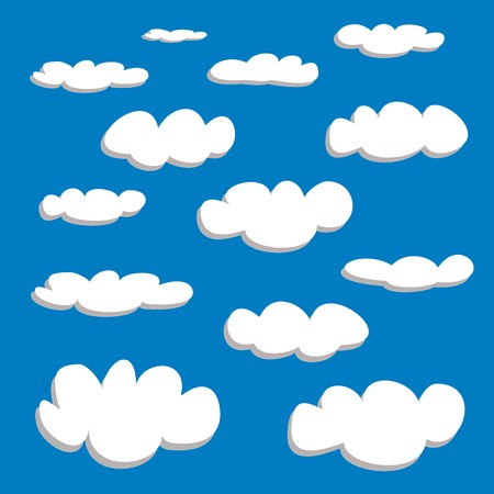 White clouds on blue sky background vector set  Cloud computing concept cartoon or bubble speech collection for flat design and use in a social networks or illustration Vector