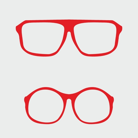 corrective lenses: Red nerd glasses with thick holder - retro hipster vector illustration isolated on grey background