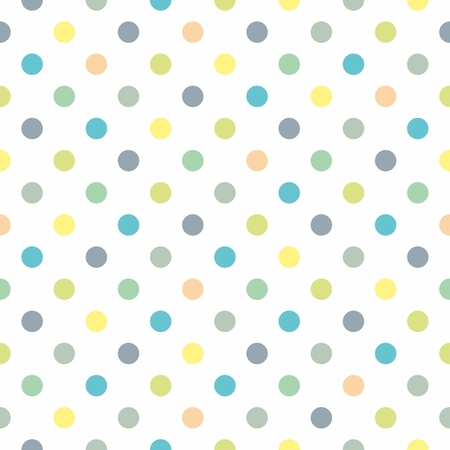 Seamless vector pastel pattern, decoration texture or tile background with cool mint, grey, blue and yellow green polka dots on white background for web design, desktop wallpaper, spring blog or fresh website