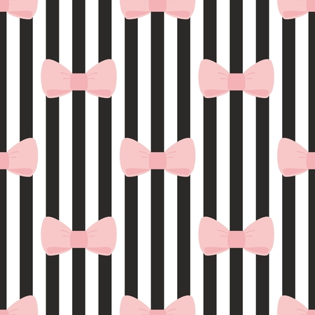 Seamless vector pattern with pastel pink bows on a black and white strip background  For desktop wallpaper, cute kids background or website design Vettoriali