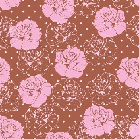 fond brun: Vecteur Seamless floral tuile �l�gant motif rose fond Belle texture abstraite avec des fleurs roses et pois sur fond brun fonc� Illustration