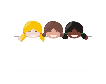 Mulicultural vector girls holding white empty banner  Blond, brown and black hair hostess smiling and showing big empty page add  Illustration isolated on white background  Happy kids with text or photo Vector