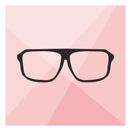 eyewear: Glasses on pink background vector illustration  Teacher, professor, secretary or hipster old eyewear with thick black plastic rim shilouette
