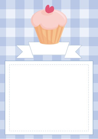 empty space for text: Vector blue restaurant menu card, baby shower list, wedding invitation with sweet cupcake on boy blue vintage checkered pattern grid texture background and empty white space for your own text message Illustration