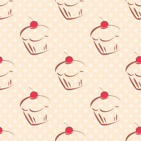 Seamless pattern or tile texture with red cherry cupcakes  Vector