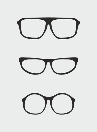 eyewear fashion: Glasses vector set with black holder retro hipster object isolated on grey background  Medical huge eye glasses shilouette collection  Sign of intelligence, professor, secretary or school teacher Illustration