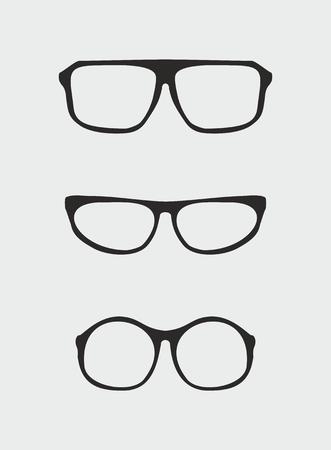 Glasses vector set with black holder retro hipster object isolated on grey background  Medical huge eye glasses shilouette collection  Sign of intelligence, professor, secretary or school teacher Illustration
