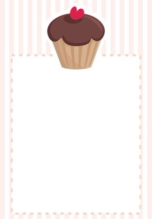 Chocolate cupcake on pink vintage pattern or stripes texture background Vector