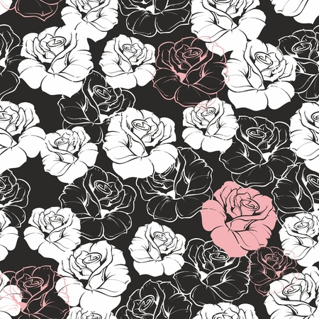 Seamless vector dark floral pattern with classic white and pink roses on black background  Beautiful abstract vintage texture with flowers and cute background for web design or desktop wallpaper  Vector