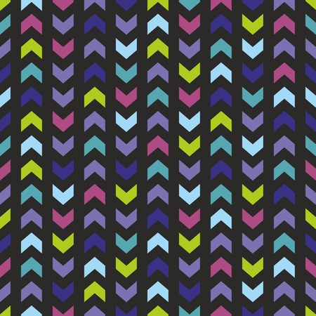 Chevron seamless vector dark colorful pattern, texture or background with zig zag yellow green, violet, navy blue and pink stripes on black background  Vector