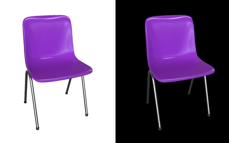 Violet modern chair isolated on white and black background  Kitchen interior, garden or dining room plastic and steel furniture 3d render illustration illustration