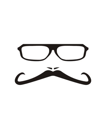 Men face with long mustache and huge, hipster glasses  Vector
