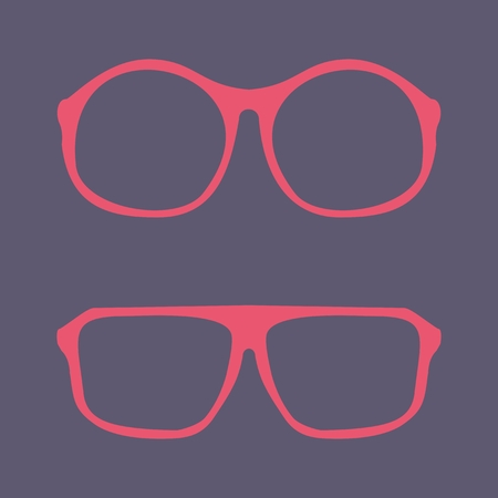 Pink nerd glasses with thick holder - retro hipster Stock Vector - 28517168