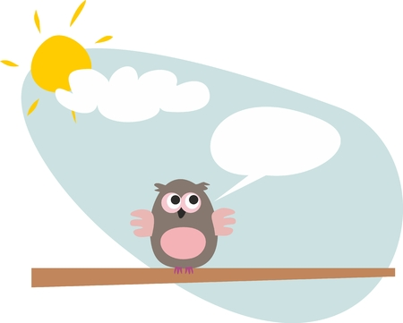 owl on the branch talking, giving instructions  Sunny day with clouds illustration  Vettoriali