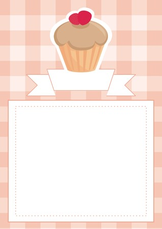 sweet toffee and strawberries cupcake on peach pink checkered pattern grid Vector