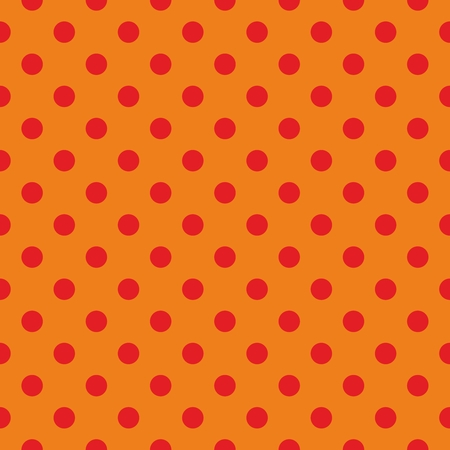 Tile vector pattern, texture or background with seamless red polka dots on orange background - retro design for kids website, blog or desktop wallpaper Vector
