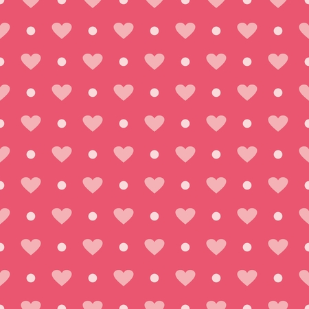 wallpaper dot: Pink vector tile background with hearts and polka dots  Cute seamless pattern for valentines desktop wallpaper or lovely website design