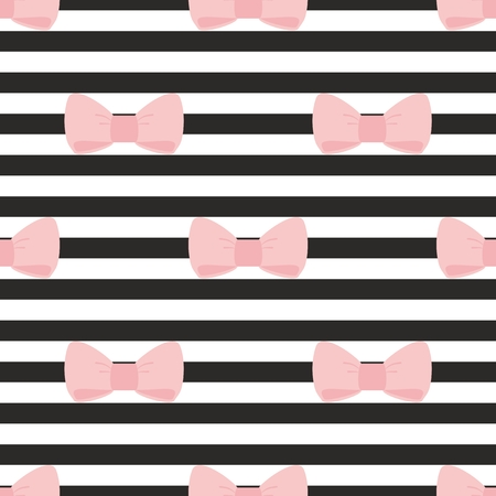 cute wallpaper: Seamless vector pattern with pastel pink bows on a black and white strip background  For desktop wallpaper, cute kids background or website design Illustration
