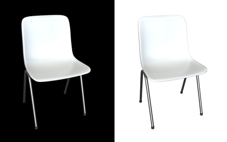White modern chair isolated on white and black background  Kitchen interior, garden or dining room plastic and steel furniture 3d render illustration illustration