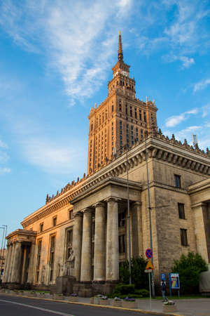 Warsaw historical architecture - Palace of Culture and Science   Monumental skyscraper in Warsaw city, Poland  Socialism symbol