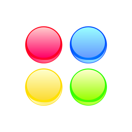 Colorful web button vector set  Red, blue, yellow and green neon design elements isolated on white background  Vector