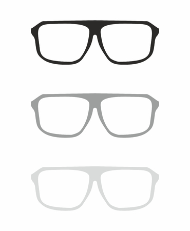shilouette: Glasses vector set with black and grey holder hipster object isolated on white background  Medical huge eye glasses shilouette collection  Sign of intelligence, professor, secretary or school teacher Illustration