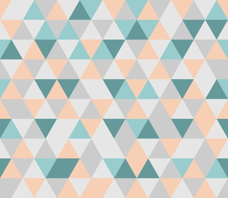 Colorful tile background illustration  Grey, orange, pink and mint green triangle geometric mosaic card document template or seamless pattern  Hipster flat surface aztec chevron zigzag print design Vettoriali