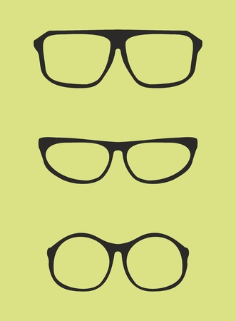 eyewear fashion: Black nerd, secretary or teacher glasses with thick holder - retro hipster vector illustration isolated on green background
