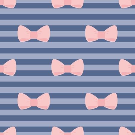 azul marino: Modelo del azulejo del vector con el rosa pastel lazos en una marina tiras de fondo azul para el papel pintado de escritorio o niños diseño de sitios web Vectores