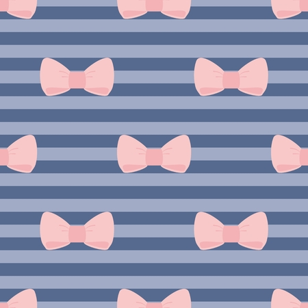 desktop wallpaper: Tile vector pattern with pastel pink bows on a navy blue strips background  For desktop wallpaper or kids website design