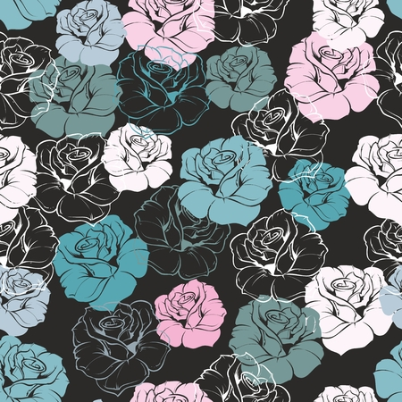 Seamless floral vector pattern with blue, green, white and pink retro roses on dark, black background Beautiful abstract vintage texture with pink flowers and cute background