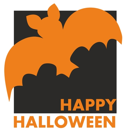 Happy Halloween vector party card with bat and hand drawn wishes Vector