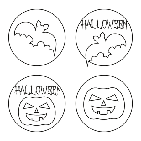 Hand drawn Halloween web button or sign vector set with pumpkin and bat Vector